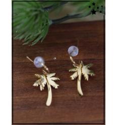 Boucles d'oreilles - Palmier - Doré