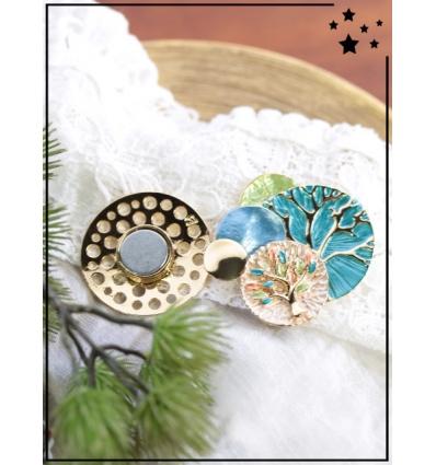 Broche aimantée - Cercles et arbre de vie - Bleu