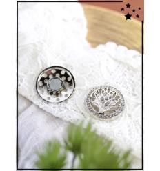 Broche aimantée - Cercle de strass et arbre de vie - Argenté