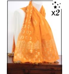 Foulard x2 - Motifs dorés et pompons - Orange