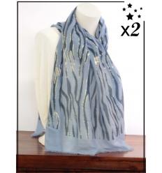 Foulard x2 - Détails dorés - Motif zébré - Bleu et marine