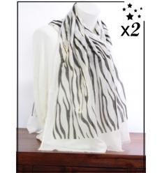 Foulard x2 - Détails dorés - Motif zébré - Blanc et noir
