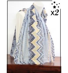 Foulard x2 - Détails dorés - Motif ethnique - Camaïeu bleu