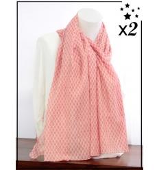 Foulard x2 - Motif écailles du Japon - Rouge