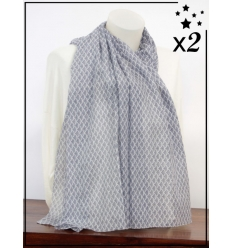 Foulard x2 - Motif écailles du Japon - Bleu