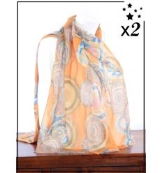 Foulard x2 - Détails dorés - Cercles colorés - Terracotta