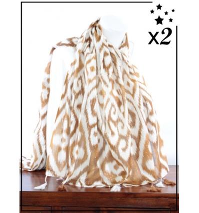 Foulard x2 - Détails argentés - Motifs et pompons - Camel