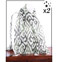 Foulard x2 - Détails argentés - Motifs et pompons - Vert