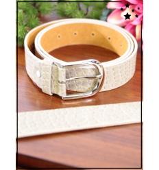 Ceinture - Boucle métal - Aspect croco - Crème