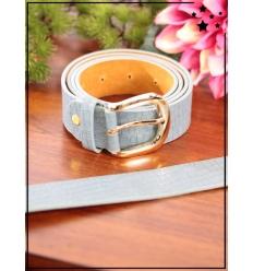 Ceinture - Boucle métal - Aspect croco - Jean