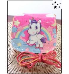 Pochette fillette - Rabat brillant - Licorne, arc en ciel et étoiles - Rose