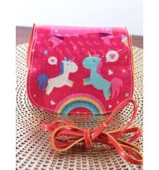 Pochette fillette - Rabat brillant - Deux licornes et arc en ciel - Rouge