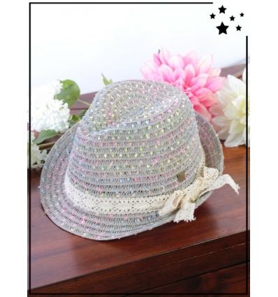 Chapeau - Panama - Touches colorées et noeud dentelle - Gris/Multi