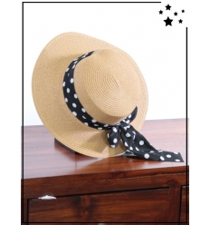Chapeau - Foulard noué à pois blanc - Paille