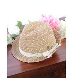 Chapeau - Panama - Touches colorées et noeud dentelle - Paille/Multi