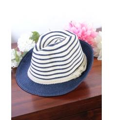 Chapeau - Panama - Rayures et noeud marin - Bleu