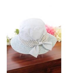 Chapeau - Cloche - Tissu et paille - Noeud rayé - Ciel