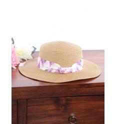 Chapeau - Foulard fleuri - Paille