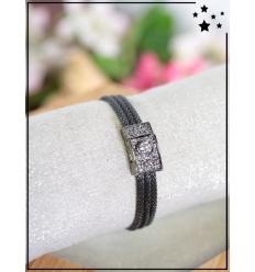 Bracelet métal et strass - Noir métallisé