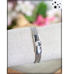 Bracelet métal et strass - Argenté