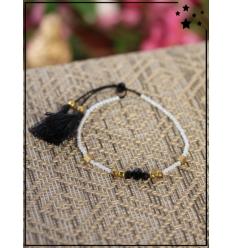 Bracelet fantaisie en perles - Blanc, noir et doré