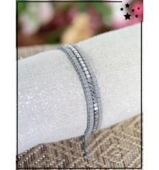 Bracelet perles - 3 rangs - Gris et argenté