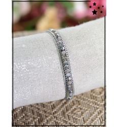 Bracelet fantaisie en perles - Gris et argenté