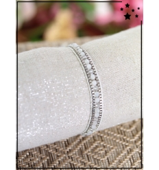 Bracelet fantaisie en perles - Blanc et argenté