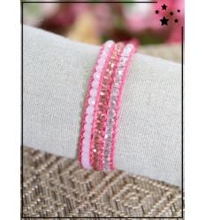 Bracelet perles tissé - Rose