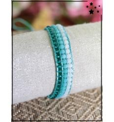 Bracelet perles tissé - Turquoise