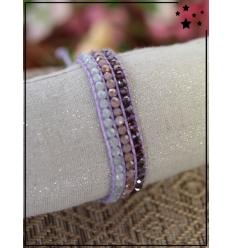 Bracelet perles tissé - Violet