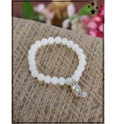 Bracelet - Perles - Breloque avec perles transparentes - Blanc
