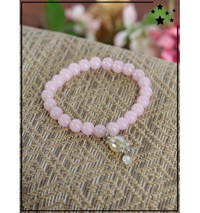 Bracelet - Perles - Breloque avec perles transparentes - Rose
