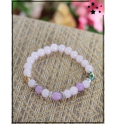 Bracelet - Perles - Détail argenté - Lilas