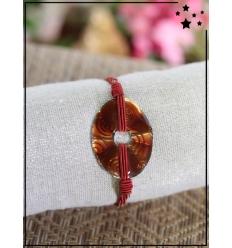 Bracelet - Ovale ambré - Cordons - Rouge