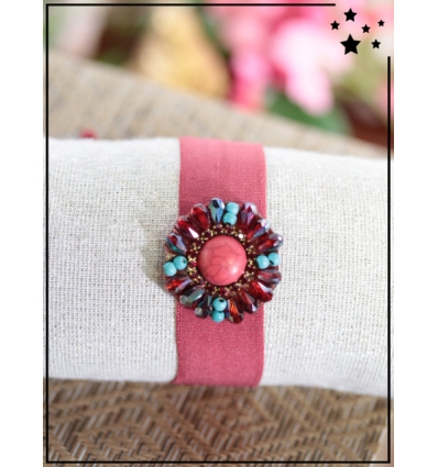 Bracelet ruban - Pierre et perles - Rose