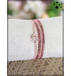 Bracelet double tour - Rose doré - 6 rangs - Tons rose