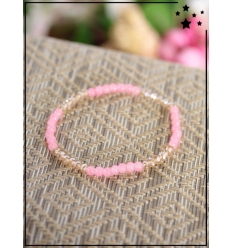 Bracelet - Perles - Bi-color - Rose