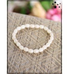 Bracelet - Perles ovales - Beige