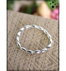 Bracelet - Perles ovales - Argenté