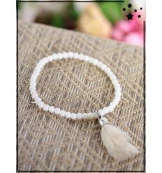 Bracelet - Perles ovales - Pampille - Blanc/Beige
