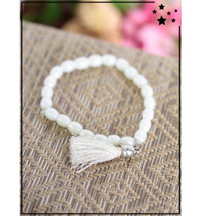 Bracelet - Perles ovales - Pampille - Blanc