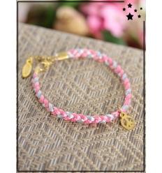 Bracelet - Tressé - Médaillon Peace & Love - Rose/Gris