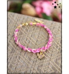 Bracelet - Tressé - Médaillon Ange - Fushia/Rose