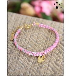 Bracelet - Tressé - Médaillon Ange - Rose