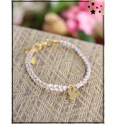 Bracelet - Tressé - Médaillon Ange - Gris