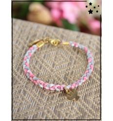 Bracelet - Tressé - Médaillon Ange - Rose/Perle