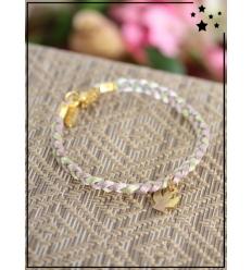 Bracelet - Tressé - Médaillon Ange - Vert/Gris