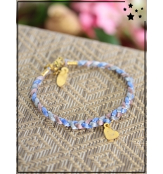 Bracelet - Tressé - Médaillon Coeur - Bleu
