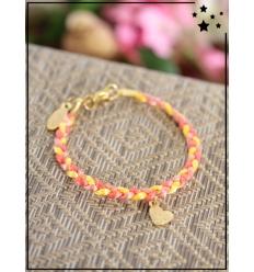 Bracelet - Tressé - Médaillon Coeur - Jaune/Orange
